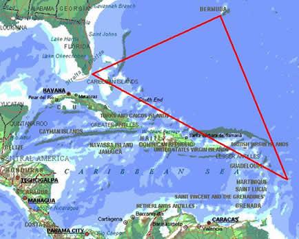 Esta imagem mostra onde se localiza o Triangulo das Bermudas.